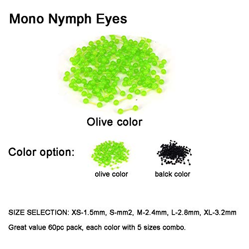 (Aventik 60pcs Mono Nymph Eyes Fly Tying Materials Two Colors, Easy to Use, Streamers, Crafts, Baitfish, Spinner Flies, Fresh Water & Salt Water (60pc Olive Color(5 Sizes Each 12pc)))