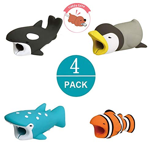 Cable Buddies,Cable Bite Compatible with iPhone,Zhaoyun Cute Cellphone Cable Protector Charger Saver(4 Pack)-Ocean Series