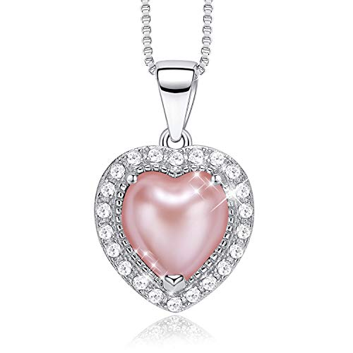 CDE S925 Sterling Silver Birthstone Necklace for Women with Pearl Pendant Jewelry for Women (July)