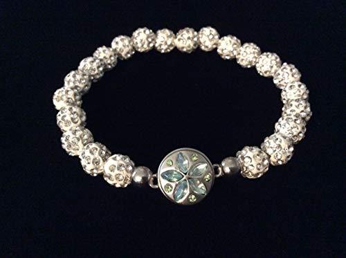 (Stretch Bracelet Rhinestone Sand Dollar Jewelry Snap Charm Jules Obsession @ 7 1/2 inches)