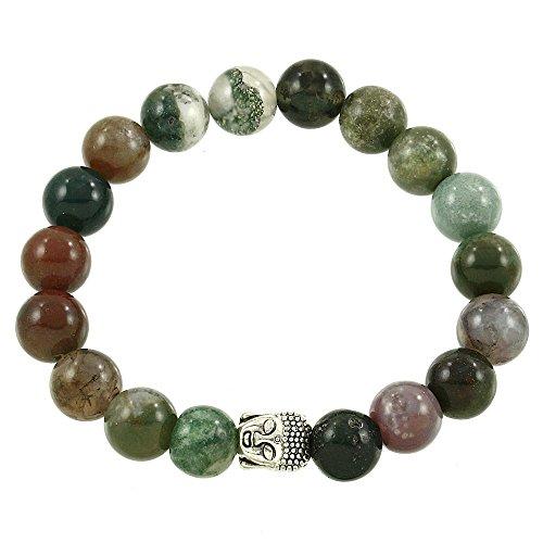 Falari Buddha Energy Natural Stone Stretch Bracelet Indian Agate B0337 Ia