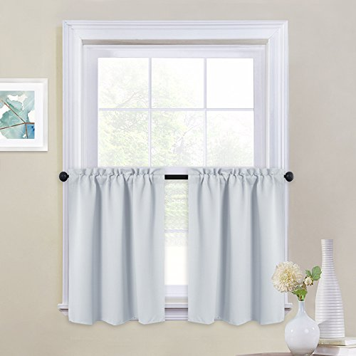 NICETOWN White Thermal Insulated Blackout Valances - Energy Efficient Kitchen Rod Pocket Tier Curtain Panels for Small Basement Windows for (2-Pack, W29 x L24-Inch, Platinum-Greyish White)