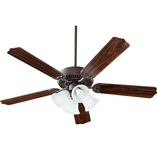 Quorum International 77525-8144 Capri V 52-Inch 4 Light CFL Ceiling Fan, Toasted Sienna Finish with Faux Alabaster Glass Shades and Reversible - Faux Alabaster