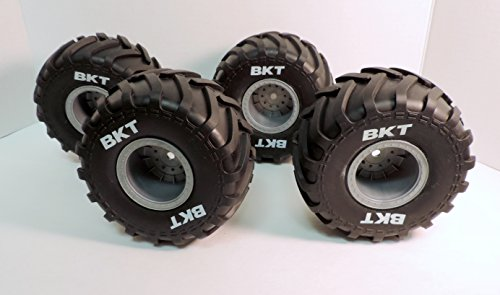 AXIAL 1/10 GRAVE DIGGER TIRES, THESE ARE THE BEST LOOKING TIRES WITH THE BKT LOGO IN WHITE LETTERING. LOOK GREAT ON ALL MONSTER TRUCKS. AX31344,AX31345