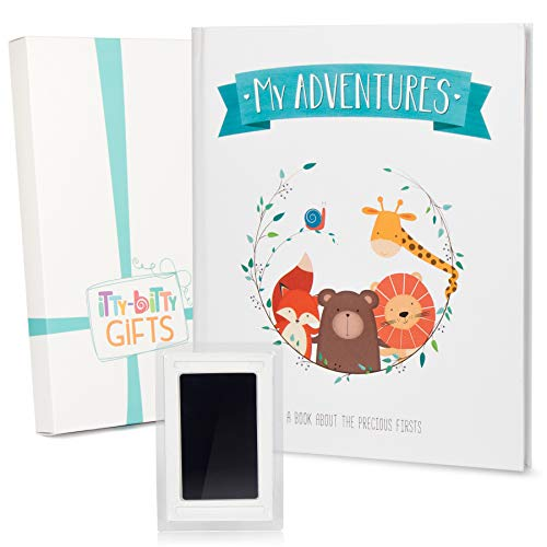 (First 5 Years Baby Memory Book + Clean Touch Ink Pad + Gift Box | Baby Photo Album & Baby Journal | Baby Books First Year Memory Book | Modern Baby Shower Gift for Boys & Girls | Scrapbook Design)