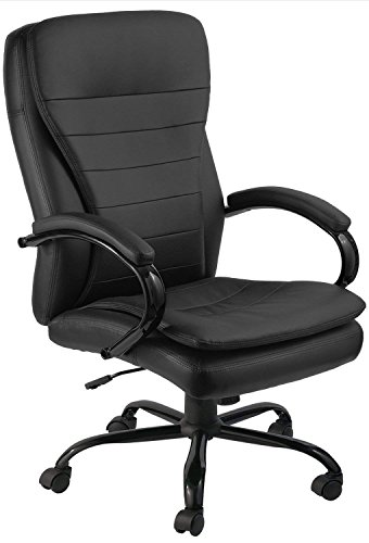 Leather Ergonomic Recliner - GTP Office Chair Ergonomic Design PU Leather High Back Executive Manager Chair (Black)