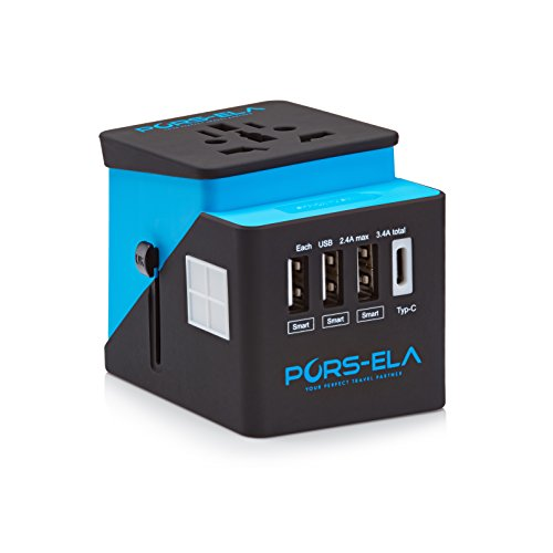 International Travel Power Adapter with 3.4A 3 USB + Type C Charger, Universal AC Socket, Wall Outlet Plugs for European, UK, US, AU & Asia - Built-in Spare Fuse, Gift Pouch - Blue/Black