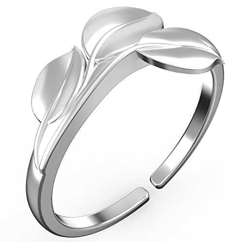 Feramox Sterling Silver Rings for Women Leaf Charm Open End Wedding Band for Women Silver Tone(size 5-7)