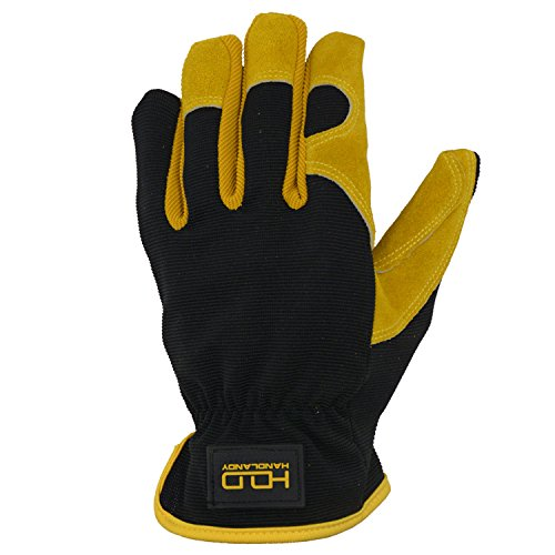 Men Work Gloves for Gardening, Mechanics, Construction, Driver, Cowhide Leather Palm, Dexterity Breathable Design by HANDLANDY (Image #4)