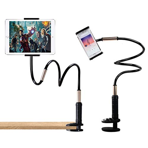 QUICK WIN Cell Phone Clip Holder, Tablet Clip Holder,Long Arm Gooseneck Flexible Lazy Bracket for ipad/iPhone X/8/7/6/ipad Cell Phone Clip on Stand HolderMount for Desktop Bedroom, Office, (Best Lazy Mount For Ipads)