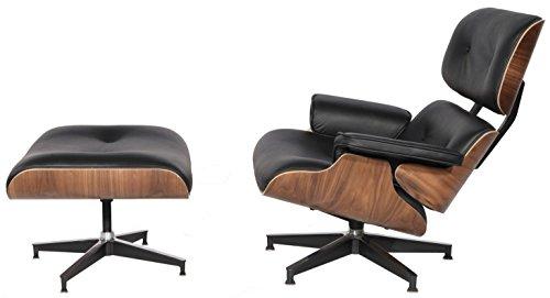 EMODERN FURNITURE eMod - Mid Century Plywood Eames Lounge Chair & Ottoman Aniline Leather (Black/Walnut)