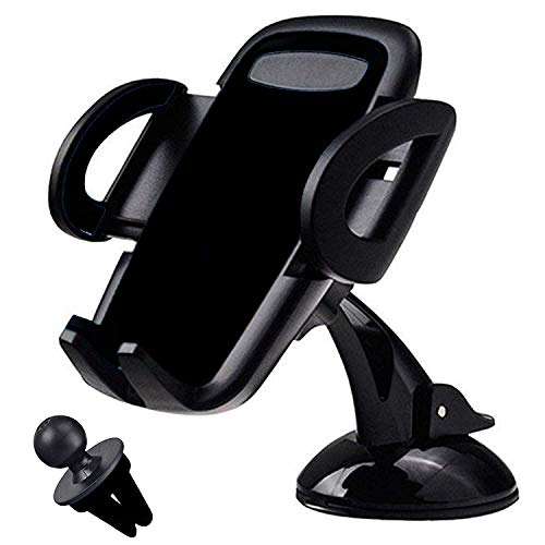 MARRRCH 2 in 1 Car Phone Mount,Car Air Vent Mount Holder Cradle and Dashboard Car Phone Holder Compatible with iPhone Xs,XS MAX,XR,X,8,8Plus,7,7Plus,6,6Plus, Galaxy S7,8,9,10, Google Nexus (Black) (Iphone Dashboard Cradle)
