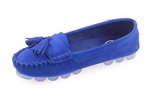 Amoonyfashion Damesschoenen Met Ronde Neus En Dichte Neus En Lage Hakken-schoenen Met Stevige En Doug-schoenen Royalblue
