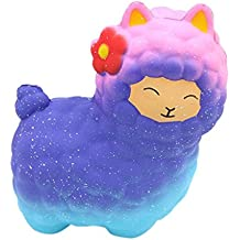 Wotryit Jumbo Sheep Squishy Cute Alpaca Galaxy Super Slow Rising Scented Fun Animal Toys (C)
