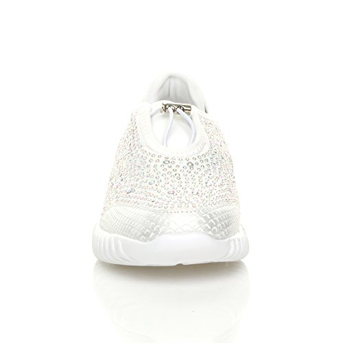 Womens ladies flat slip on diamante memory foam comfort trainers sneakers size White 9c3htCeIqy