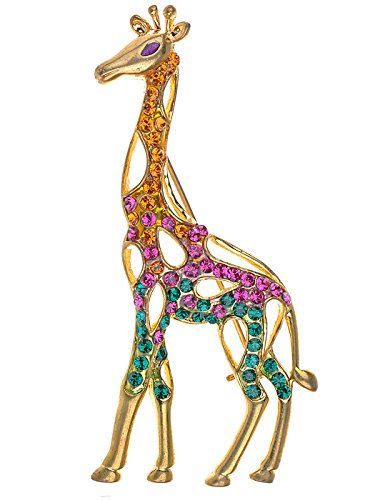 Alilang Womens Gold Tone Multicolored Rhinestones Colorful Giraffe Brooch Pin
