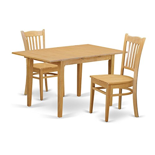 East West Furniture NOGR3-OAK-W 3 Piece Dinette Table and 2 Kitchen Chairs Set
