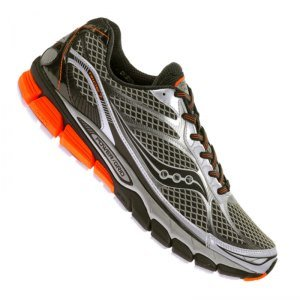 [Saucony Ride 7 Men's Running Shoes Size US 9.5, Regular Width, Color Silver/Black/Orange] (Ride Silver Shoes)