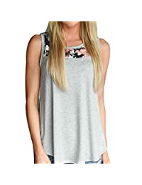 Afco Fashion Diary Sweet Girl Summer Flower Patchwork Women Sleeveless Vest Casual Round Neck Loose Tank Top 3XL Grey