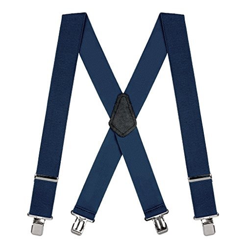 SuspenderStore Men's 2 Inch Wide Construction Clip Suspenders - NAVY BLUE ()
