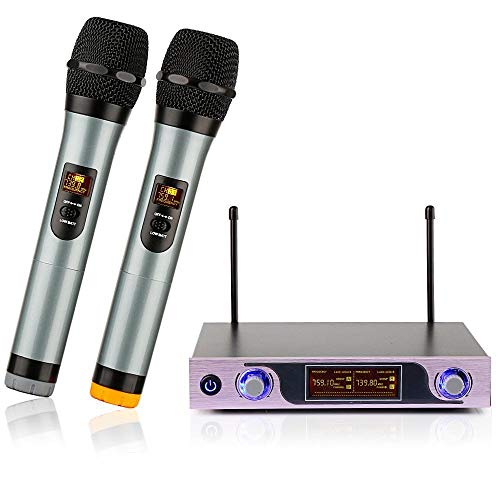 (ARCHEER VHF Wireless Microphone System,Handheld Wireless Microphones for Outdoor Wedding, Conference, Karaoke, Evening Party, Rose Gold )