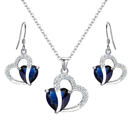 Silver Heart Hook (EleQueen 925 Sterling Silver Full Cubic Zirconia A Heart Full of Eternal Love Bridal Pendant Necklace Hook Earrings Sapphire Color)