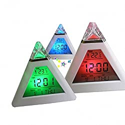 Lookatool New Fashion Pyramid Temperature 7 Colors LED Change Backlight LED Alarm Clock