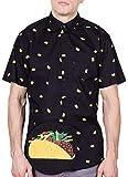 Visive Hawaiian Shirt for Mens Short Sleeve Black Taco Button Up Down Casual Shirts Medium