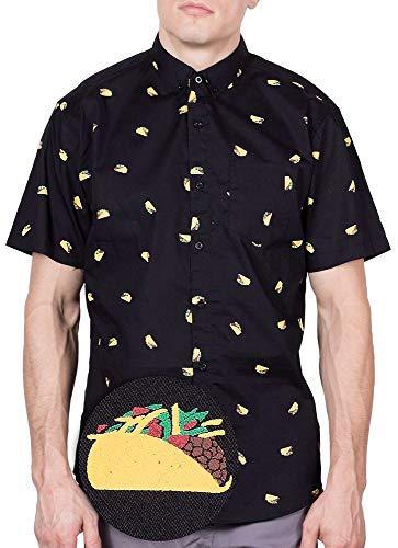 Visive Hawaiian Shirt for Mens Short Sleeve Black Taco Button Up Down Casual Shirts -
