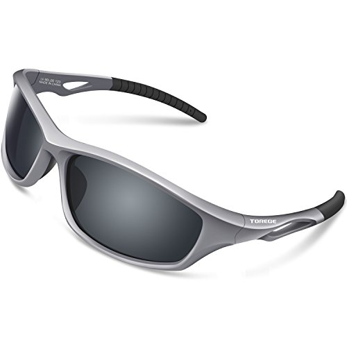 TOREGE Polarized Sports Sunglasses for Men Women for Cycling Running Fishing Golf TR90 Unbreakable Frame TR010-1 (Grey&Black Tips&Grey -