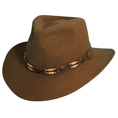 Scala Crushable Wool (Scala Western Style Men's Crushable Wool Felt Outback Hat with Conchos and Beads)