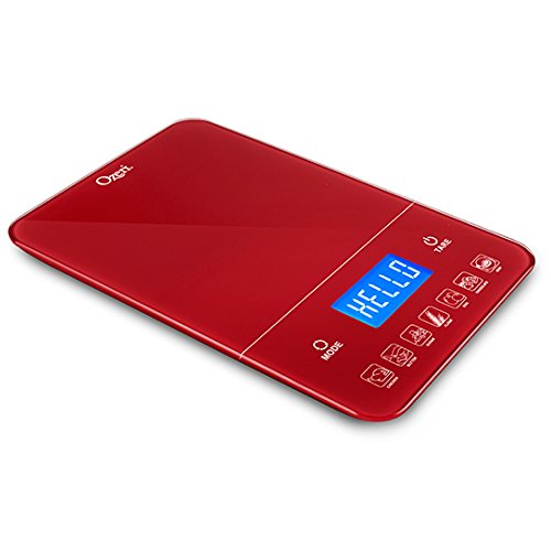 Ozeri Touch III 22 lb (10 kg) Digital Kitchen Scale with Calorie Counter in Tempered Glass, Red Engine