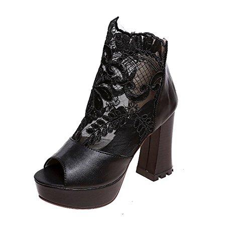 femme en sandales maille pour Fermeture Mesdames Éclair Noir classique balamasa xRU10Iqc