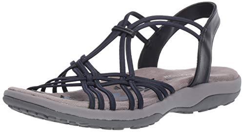 Lightweight Slip Sandals - Skechers Women's Reggae Slim-Slip Spliced-Gore Slingback Sandal, Navy, 8 M US