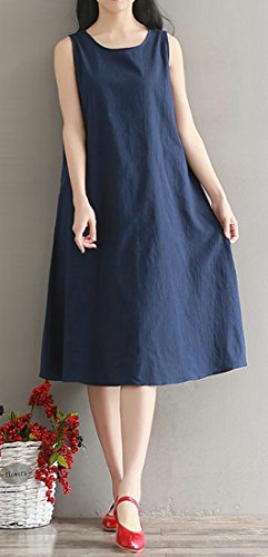 Cotton Womens Dress Folk Loose Navy Crew blue JSYAU Neck Sleeveless Style Solid Casual Long ABd00Fx