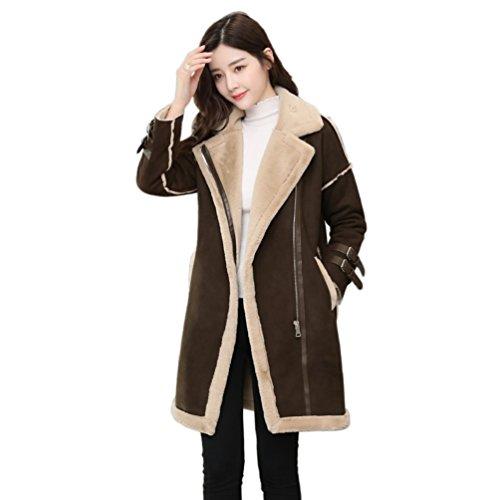 WanYang Chaqueta de Abrigo de Moda Casual para Mujer Abrigos de Invierno Elegante y Casual Otoño e Invierno Café
