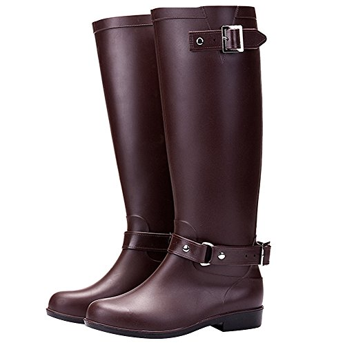 Women's Coffee Boots High Wellington Rain Knee rismart Winter Waterproof Snow Warm a7dRaqAxw