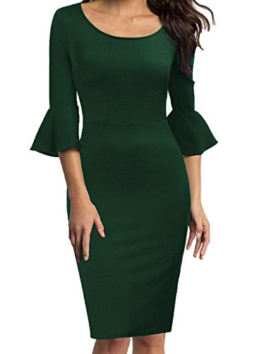 (WOOSEA Womens Flounce Bell Sleeve Scoop Neck Office Work Casual Pencil Dress (Green, Large))