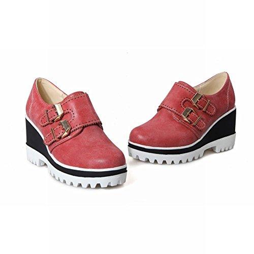 Carolbar Kvinna Multi Spänne Mode Retro Vintage Plattform Kilklack Skor Retro Röda