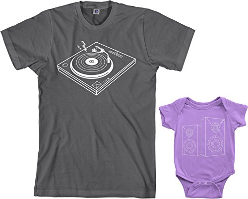 210 Charcoal - Turntable & Speakers Infant Bodysuit & Men's T-Shirt Matching Set (Baby: 12M, Lavender|Men's: 2XL, Charcoal)