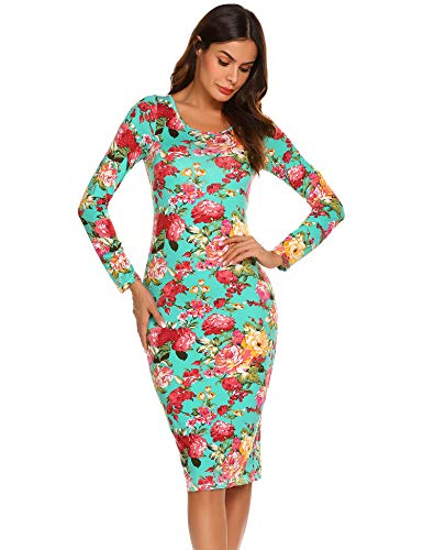 Dresses HOTOUCH Dress Party Midi Pencil Stretch Women Bodycon Green Sleeve Flower Scoop Long Neck n7F4q7