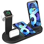 #LightningDeal Wireless Charger 4 in 1 Charging Dock for iWatch and Airpods Pro Charging Station Charging Stand for iPhone 12/12 Mini/11 Pro Max/SE/X/XR/Xs Max 8/8 Plus,for Samsung Galaxy Series Phone