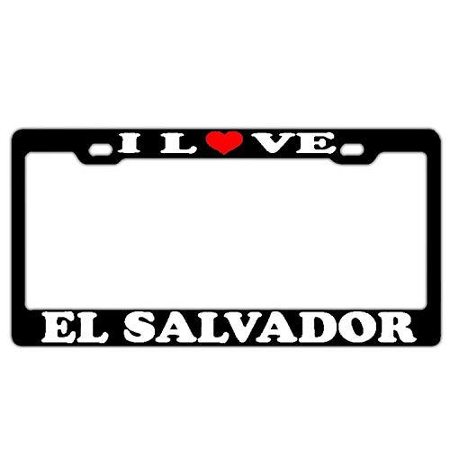 Salvador El Ladies (Zoomber I Love El Salvador BlackLicense Plate Frame Stainless Steel Cat Car Tag Frame for Women/Men/Girls Humor License Plate Holder 2 Holes and Screws)