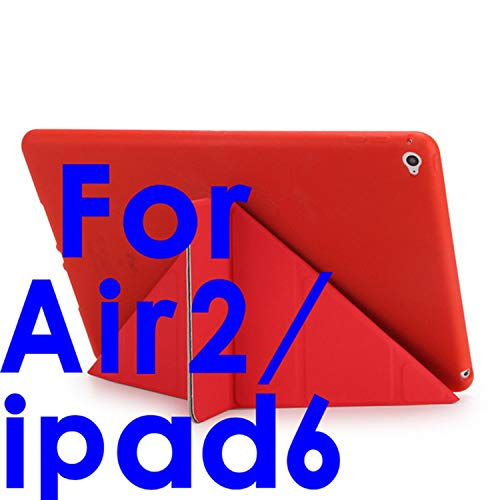 1 Smart Case 5 Shapes Stand Ultra Thin PU Leather Cover Silicon Soft Case for Ipad 5/6 Auto Sleep/Wake up,red Air2 ()