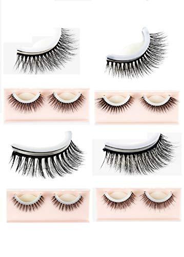ADOO Magnetic False Eyelashes, 3D Reusable Glue-Free Natural False Hand Eyelashes Ultra-Thin, 4 Pairs / 8 Pieces