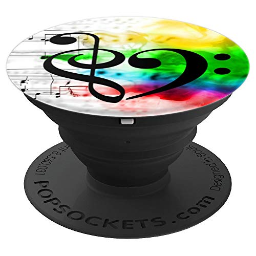 Treble Clef + Bass Clef Heart Watercolor Sheet Music Bassist - PopSockets Grip and Stand for Phones and Tablets