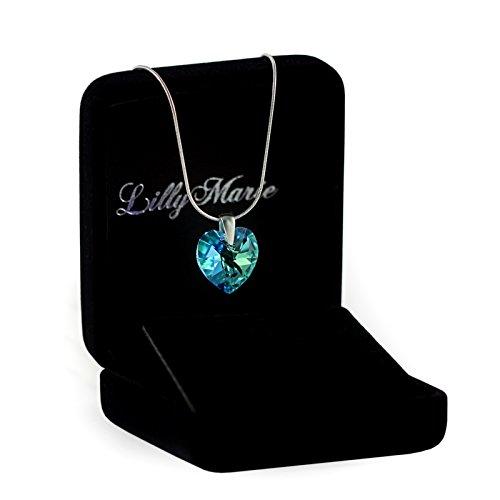 LillyMarie Silberkette aus 925 Silber mit original Swarovski Elements Herz Anhänger, blau, mit Schmucketui. Ideal als Geschenk für Frau oder Freundin