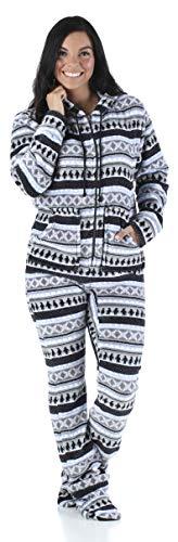 SleepytimePjs Women's Fleece Footed Onesie Pjs Grey Penguin Fair Isle – (ST17-W-3030-XS)