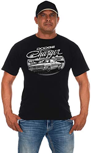 (JH Design Men's Dodge Charger Black T-Shirt Short Sleeve Crew Neck Shirt (Large, Black))