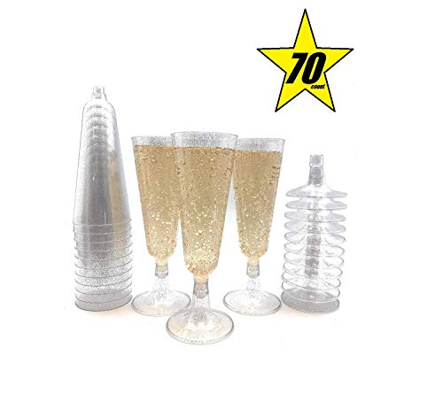 70pc Glitter Plastic Classicware Glass Like Champagne Wedding Parties Toasting Flutes Party Cocktail Cups (Silver)]()